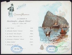 menu-01222 - 01144-Steamship, harbor, rock, printed text