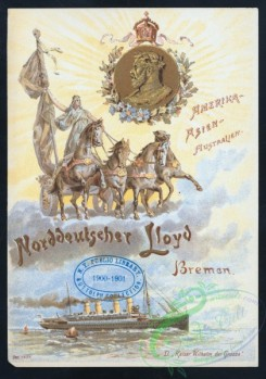 menu-01424 - 01344-Steamship, Woman on four horses chariot, Wreath, Clouds