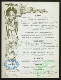 menu-01787 - 01707-Waiter, decorated side frame, grapes leaves, printed text, handwritten text