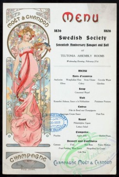menu-02320 - 02240-Woman in pink dress, botanical, flower wreath, Menu text decorated