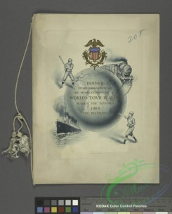 menu-02740 - 02834-Baseball players, Globe, Railroad, Train, Steamship