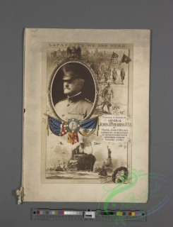 menu-03224 - 03144-Flags, Oval frame, Historical, Steamship, Statue of Liberty