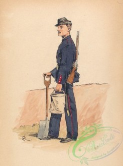 military_fashion-00097 - 101264-Mexico, 1826-1862-Soldier in blue uniform with red trim, carrying a rifle, a shovel, and a cannister