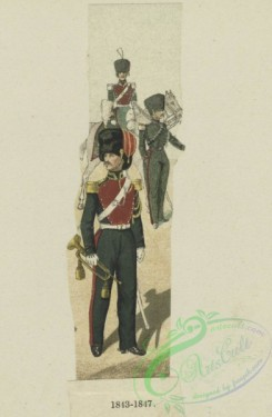 military_fashion-01006 - 106207-Belgium, 1833-1852-Soldier with trumpet in front of mounted solder, with a third holding the horse's reins. 1843-47