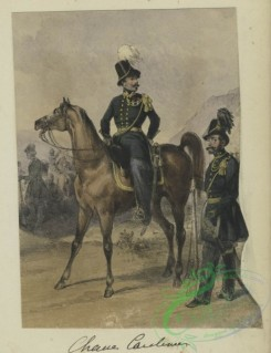 military_fashion-01018 - 106252-Belgium, 1833-1852-Mounted officer with another officer standing beside the horse