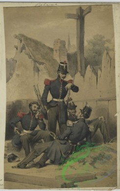 military_fashion-01029 - 106325-Belgium, 1833-1852-One standing solder, three lounging soldiers in uniform - blue jackets with red epaulettes and grey pants with a red stripe