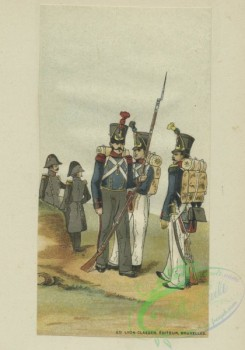 military_fashion-01045 - 106368-Belgium, 1830-1831-Three soldiers with backpacks, two with overcoats