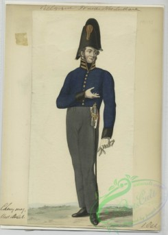 military_fashion-01112 - 106489-Belgium, 1790-1829-Man in uniform - Royal blue jacket with black and gold accents, grey pants