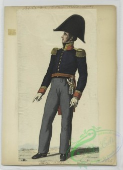 military_fashion-01114 - 106497-Belgium, 1790-1829-Soldier in uniform - Blue jacket with gold epaulettes and orange trim, grey pants