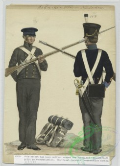 military_fashion-01119 - 106534-Belgium, 1790-1829-Two soldiers with rifles, one facing forward, the other backwards