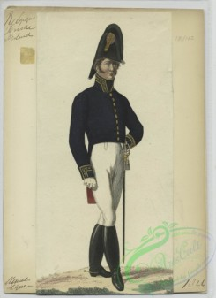military_fashion-01122 - 106537-Belgium, 1790-1829-Man in uniform - Blue jacket with gold accents, white pants