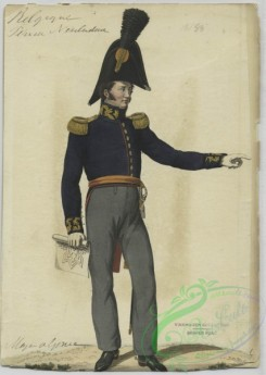 military_fashion-01131 - 106557-Belgium, 1790-1829-Soldier in uniform - Blue jacket with gold buttons and epaulettes, orange sash and grey pants