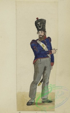 military_fashion-01163 - 106629-Belgium, 1790-1829-Soldier in uniform - Blue jacket with red accents, grey pants