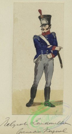 military_fashion-01164 - 106633-Belgium, 1790-1829-Soldier in uniform - Blue jacket with red and white accents, grey pants