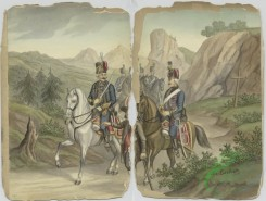 military_fashion-03293 - 105284-Austria, 1760-1770-Mounted Hussars guided by an umnounted man with a cane