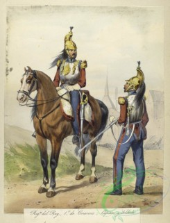 military_fashion-04101 - 104406-Spain, 1824-1829-Egercito Espanol. Reg-to del Rey, 1 de Corazeros, Capitan y Soldado