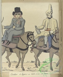 military_fashion-04327 - 105957-Spain, 1806-Cavalier d'Algarve en route avec sa femme (1806)