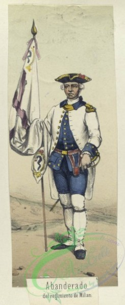 military_fashion-04499 - 106348-Spain, 1761-1769-Abanderado, del regimiento de Milan. 1768
