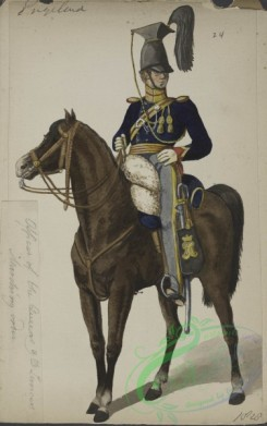 military_fashion-05270 - 200894-Great Britain, 1828, horse rider, officer, queen lancers, marching order
