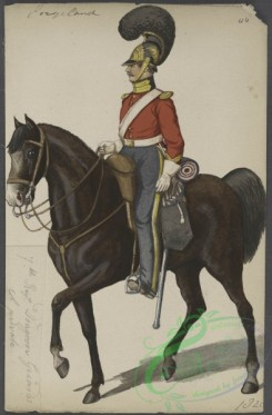 military_fashion-05297 - 200921-Great Britain, 1828, horse rider, private, black color horse, dragoon guards, soldier