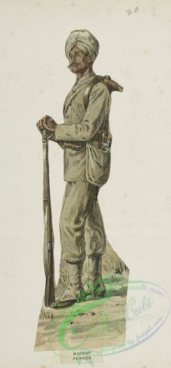 military_fashion-05705 - 201443-Great Britain, colonies, private infantry soldier, madras pioneer