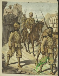 military_fashion-05722 - 201476-Great Britain, colonies, cavalry, horse rider, officer, private infantry soldier, elephant