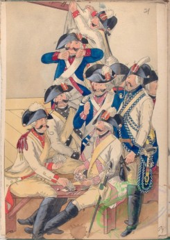 military_fashion-07949 - 102186-Netherlands, 1788-1789-Officiers around a table, socializing, playing cards, smoking