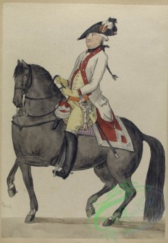 military_fashion-07962 - 102460-Netherlands, 1793-Man with sword and a red colored uniform riding on a horseback