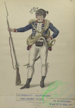 military_fashion-08013 - 103180-Netherlands, 1775-1778-A private Marine of Colonel Fourgeoud's corps. Fourgeoud -Mariniers (Regiment no. 21), in Suriname van tot 1777