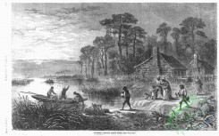 people-00730 - black-and-white 030-Negroes leaving their home,Additional Slaves fleeing by boat under the light of a full moon