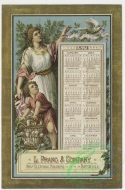 prang_calendars-00002 - 0030-Calendar from 1879 depicting a woman, child and birds 104882