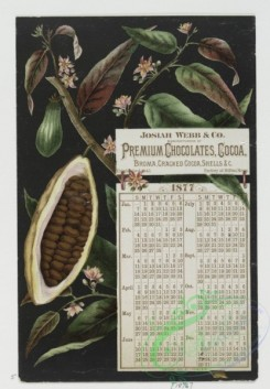 prang_calendars-00006 - 0313-Trade cards for dry goods, garden seeds, baby syrup, chocolate, prints, clothing. Depictions of cocoa beans, slave in chains, babies, mother teaching 104921