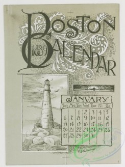 prang_calendars-00011 - 0779-Boston Calendar 1889-depicting lighthouse, Trinity Church, Faneuil Hall, Paul Revere's House, State House, and Public Garden 107657