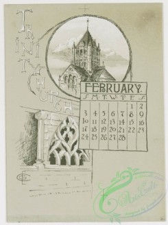 prang_calendars-00012 - 0779-Boston Calendar 1889-depicting lighthouse, Trinity Church, Faneuil Hall, Paul Revere's House, State House, and Public Garden 107658