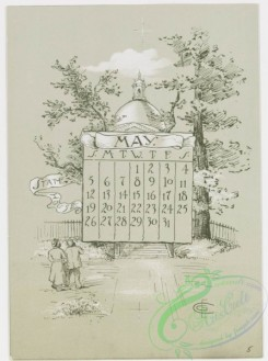 prang_calendars-00013 - 0779-Boston Calendar 1889-depicting lighthouse, Trinity Church, Faneuil Hall, Paul Revere's House, State House, and Public Garden 107659
