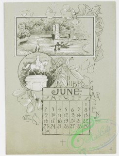 prang_calendars-00014 - 0779-Boston Calendar 1889-depicting lighthouse, Trinity Church, Faneuil Hall, Paul Revere's House, State House, and Public Garden 107660