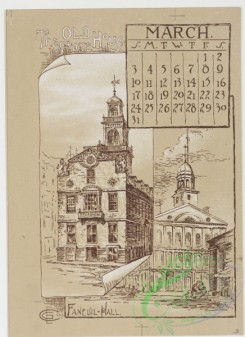 prang_calendars-00015 - 0779-Boston Calendar 1889-depicting lighthouse, Trinity Church, Faneuil Hall, Paul Revere's House, State House, and Public Garden 107661