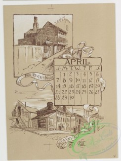 prang_calendars-00016 - 0779-Boston Calendar 1889-depicting lighthouse, Trinity Church, Faneuil Hall, Paul Revere's House, State House, and Public Garden 107662