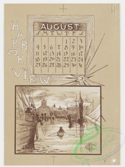 prang_calendars-00018 - 0780-Boston Calendar 1889-Back Bay Park, Harbor View, Chestnut Hill Reservoir, The Charles River, Art Museum, The New Old South 107676