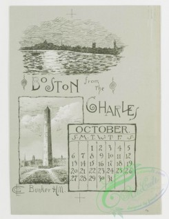prang_calendars-00022 - 0780-Boston Calendar 1889-Back Bay Park, Harbor View, Chestnut Hill Reservoir, The Charles River, Art Museum, The New Old South 107680