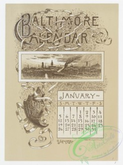 prang_calendars-00023 - 0964-Baltimore Calendar-January, Baltimore from Federal Hill, February, Fort McHenry, Frozen In, March, Pratt Free Library, Peabody Institute, April, S 108410