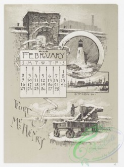prang_calendars-00025 - 0964-Baltimore Calendar-January, Baltimore from Federal Hill, February, Fort McHenry, Frozen In, March, Pratt Free Library, Peabody Institute, April, S 108412