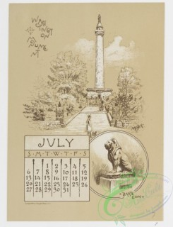 prang_calendars-00029 - 0966-Baltimore Calendar-July, Washington Monument, Barye Lion, August, Eutaw Place, Some Old Houses, Corner of German and Liberty Streets, September, F 108418