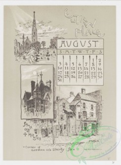 prang_calendars-00031 - 0966-Baltimore Calendar-July, Washington Monument, Barye Lion, August, Eutaw Place, Some Old Houses, Corner of German and Liberty Streets, September, F 108420