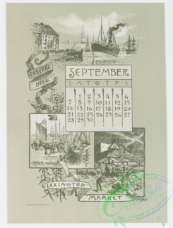 prang_calendars-00033 - 0966-Baltimore Calendar-July, Washington Monument, Barye Lion, August, Eutaw Place, Some Old Houses, Corner of German and Liberty Streets, September, F 108422