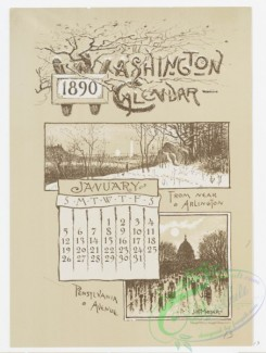 prang_calendars-00035 - 0968-Washington Calendar, 1890, January-June-From near Arlington, Pennsylvania Avenue, Botanical Gardens, Soldiers Home, Big Market, Lincoln Park, an 108426
