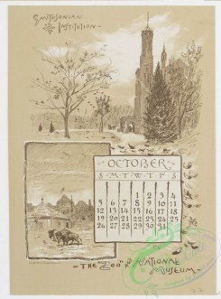 prang_calendars-00042 - 0970-Washington Calendar, 1890, July-December-U.S. Capitol, The Monument, Old Lockhouse, Bureau of Engraving and Printing, Morton Mansion, Massachuse 108441