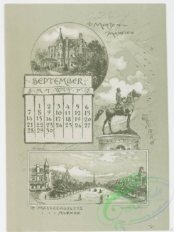 prang_calendars-00045 - 0970-Washington Calendar, 1890, July-December-U.S. Capitol, The Monument, Old Lockhouse, Bureau of Engraving and Printing, Morton Mansion, Massachuse 108444