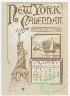 prang_calendars-00047 - 0972-New York Calendar, 1890, January-June-Statue of Liberty, Academy of Design, City Hall Tower, The 'Tribune' and 'Times' Buildings, The Narrows, T 108448