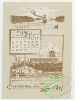 prang_calendars-00048 - 0972-New York Calendar, 1890, January-June-Statue of Liberty, Academy of Design, City Hall Tower, The 'Tribune' and 'Times' Buildings, The Narrows, T 108449